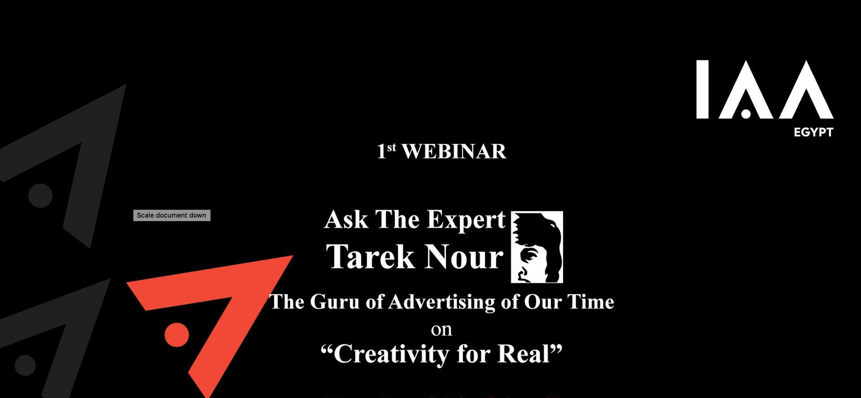 "First Webinar of IAA Egypt Chapter ""Creativity for Real"""