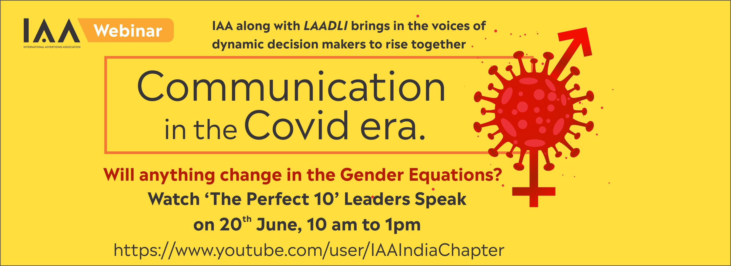 "IAA India host a webinar on ""Will anything change in the Gender Equations?"""